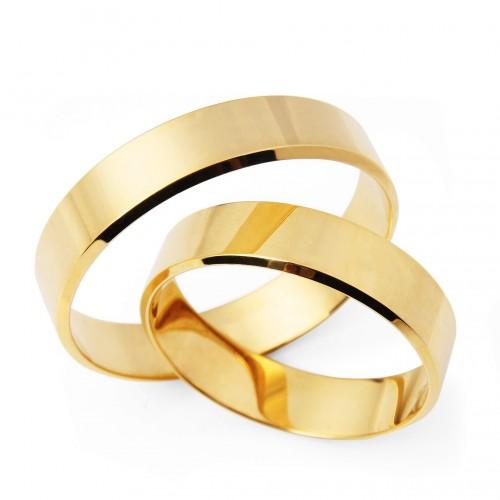 Obrączki ślubne diamentowane płaskie 5mm 585 para