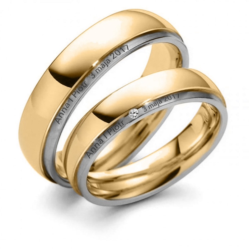 Obrączki ślubne z brylantem okrągłe 2mm 585