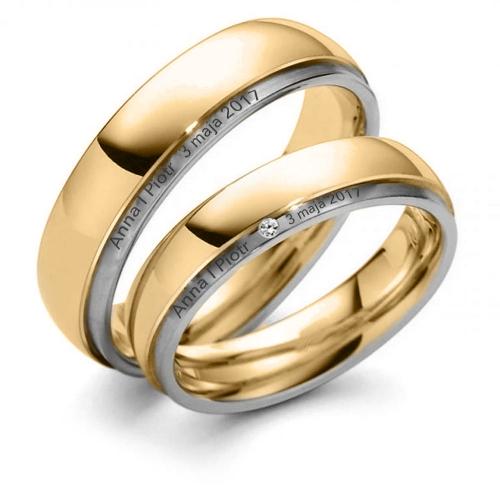Obrączki ślubne  z brylantem okrągłe 5 mm 585 para