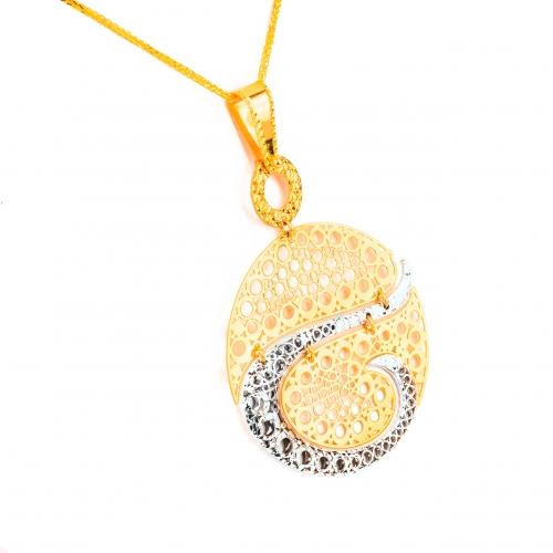 Wisior dwukolorowe złoto ażurowy elementy ruchome 585