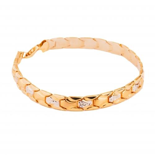 Bransoletka dwukolorowe złoto diamentowana 585