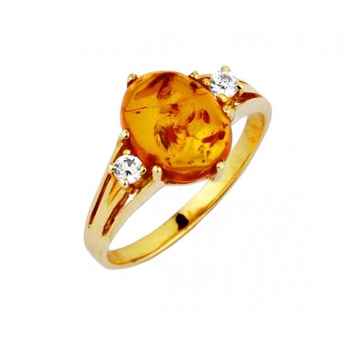 Pierścionek Złoty z Bursztynem naturalnym
