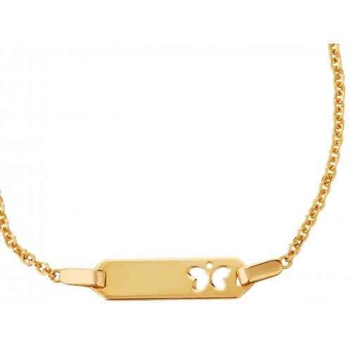 Bransoletka złota - motyl serce