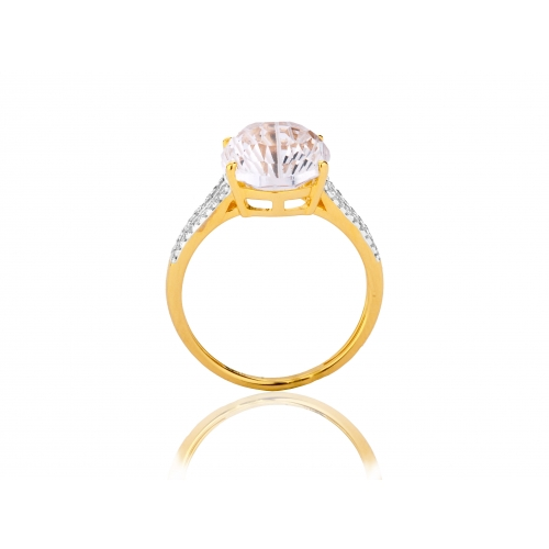 Pierścionek złoty z dużym kamieniem i brylantami