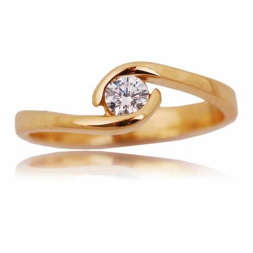 Pierścionek złoty z kryształem Swarovski