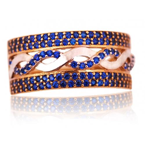 Pierścionek złoty z niebieskimi kryształami Swarovski
