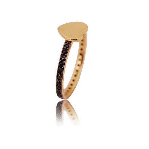 Pierścionek złoty z kryształami Swarovski SERCE