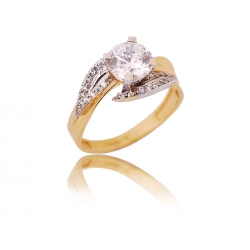 Pierścionek złoty z kryształami Swarovski