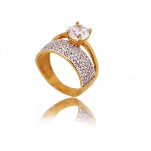 Pierścionek złoty Swarovski obrączkowy