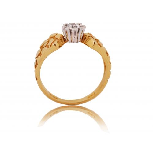 Pierścionek złoty dwukolorowy Swarovski