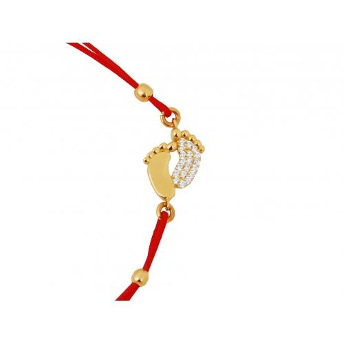 Bransoletka czerwony sznureczek STÓPKI