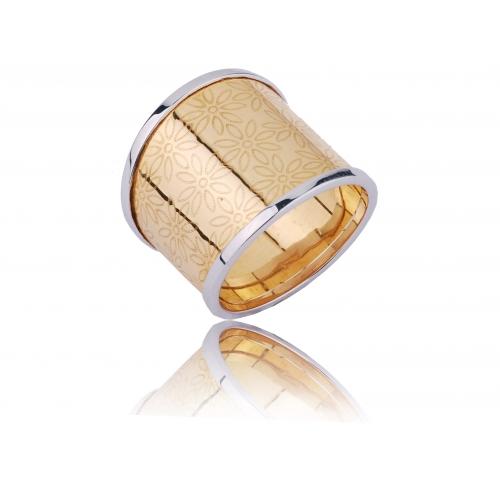 Pierścionek złoty obrączkowy KWIATKI