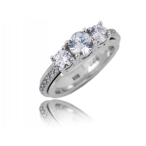 Pierścionek srebrny z kryształami Swarovski