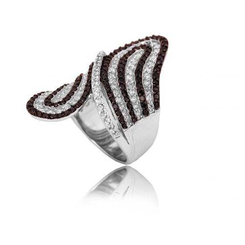 Pierścionek srebrny BIAŁE i CZARNE kryształy Swarovski