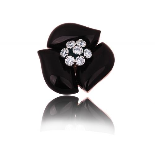 Pierścionek srebrny KWIAT czarny onyks