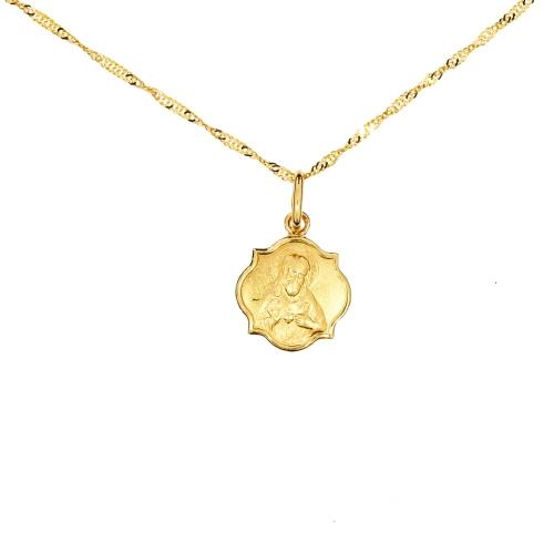 Medalik z łańcuszkiem Szkaplerz I Komunia Chrzest 585 grawer