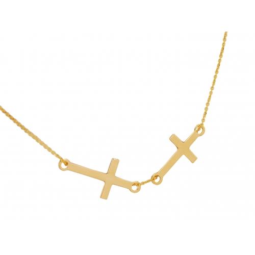 Łańcuszek złoty z dwoma krzyżykami CELEBRYTKA