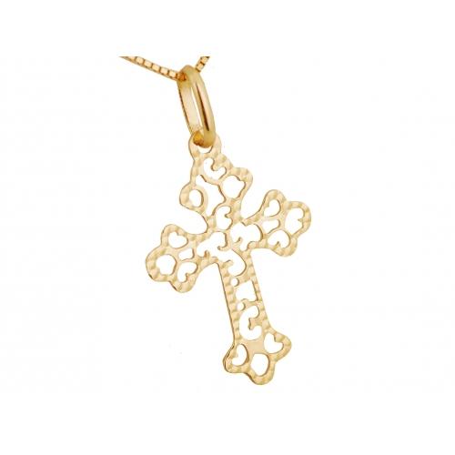 Złoty krzyżyk ażurowy