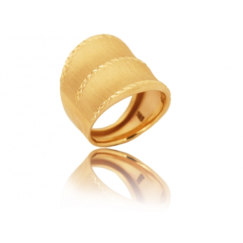 Pierścionek złoty szeroki MATOWY