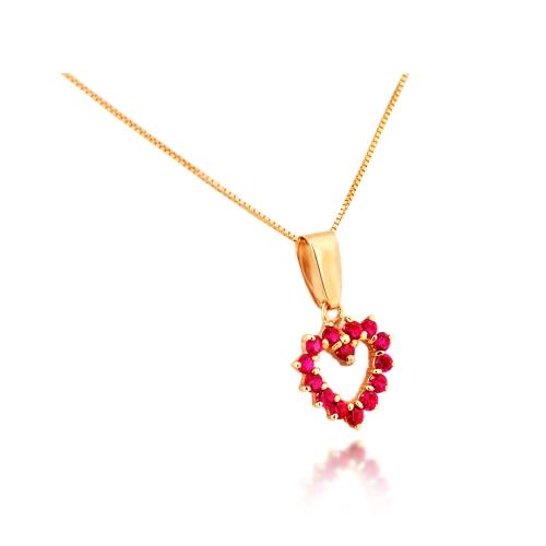 Wisiorek złoty serce z cyrkoniami 585