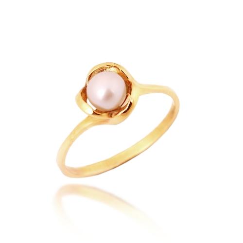 pierścionek złoty z perłą 585