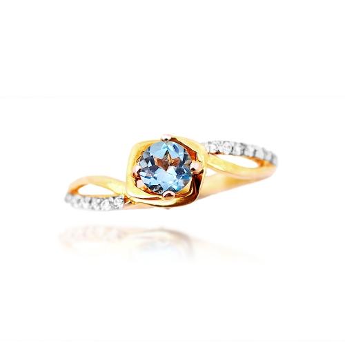 pierścionek złoty topaz naturalny cyrkonie Swarowski