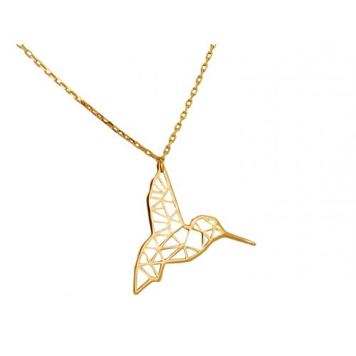 Łańcuszek złoty CELEBRYTKA koliber ORIGAMI