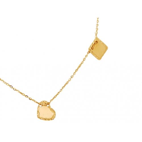 Łańcuszek złoty CELEBRYTKA serce kółko kwadrat