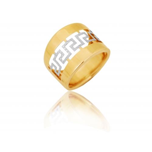 Pierścionek złoty szeroki obrączkowy GRECKI WZÓR
