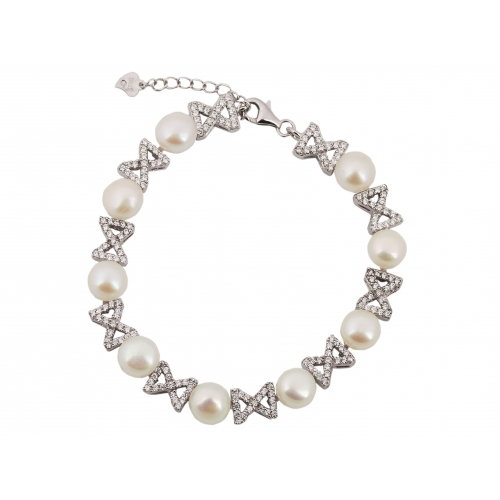Bransoletka srebrna z naturalnymi perłami