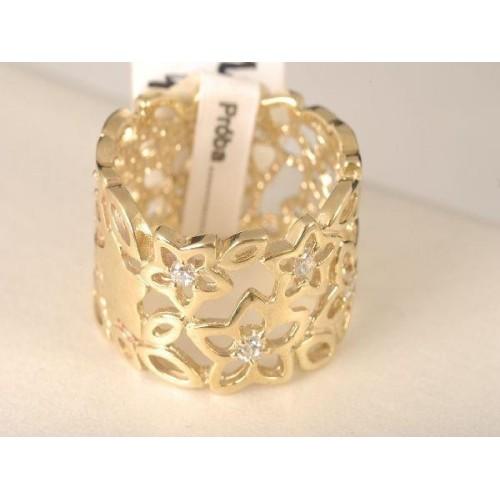 Pierścionek złoty szeroki ażurowy z cyrkoniami Swarovski