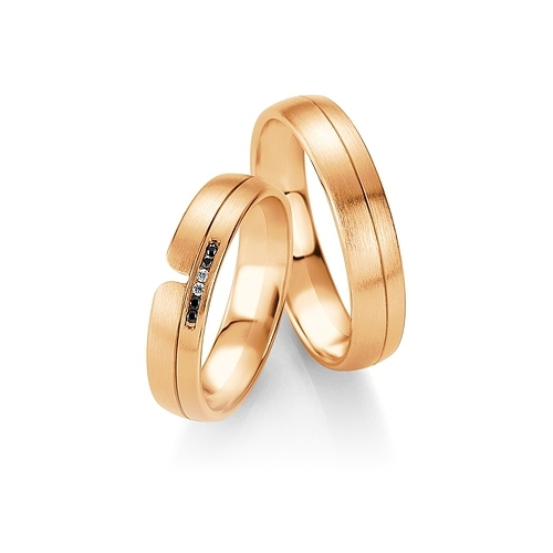 Obrączki BREUNING B&W Black Diamonds - różowe złoto