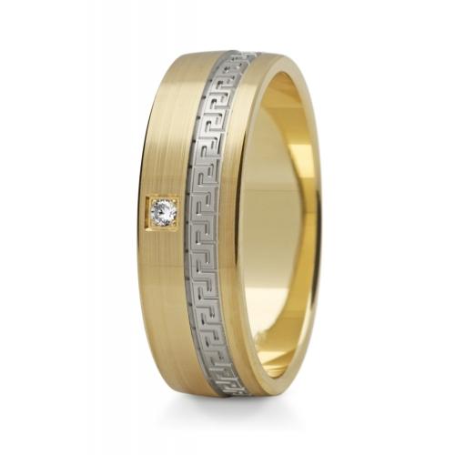 Obrączki ślubne z greckim wzorem szerokie z brylantem