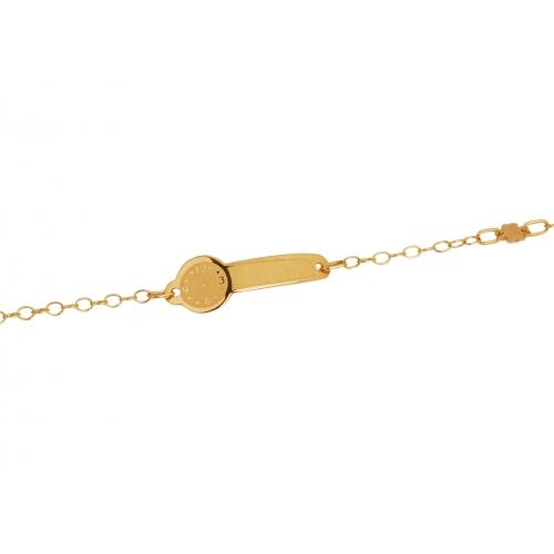 Bransoletka złota z blaszką zegarek