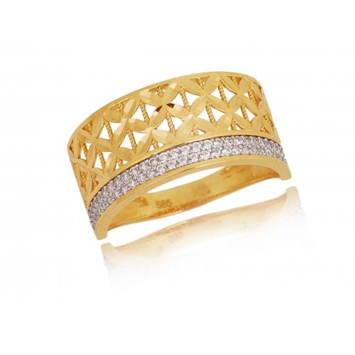 Pierścionek złoty ażurowy obrączkowy Swarovski