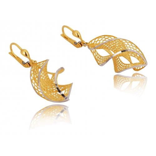Kolczyki złote wiszące ażurowe