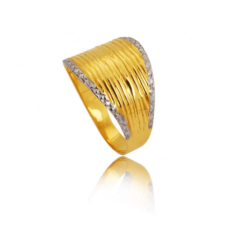 Pierścionek złoty szeroki dwukolorowy