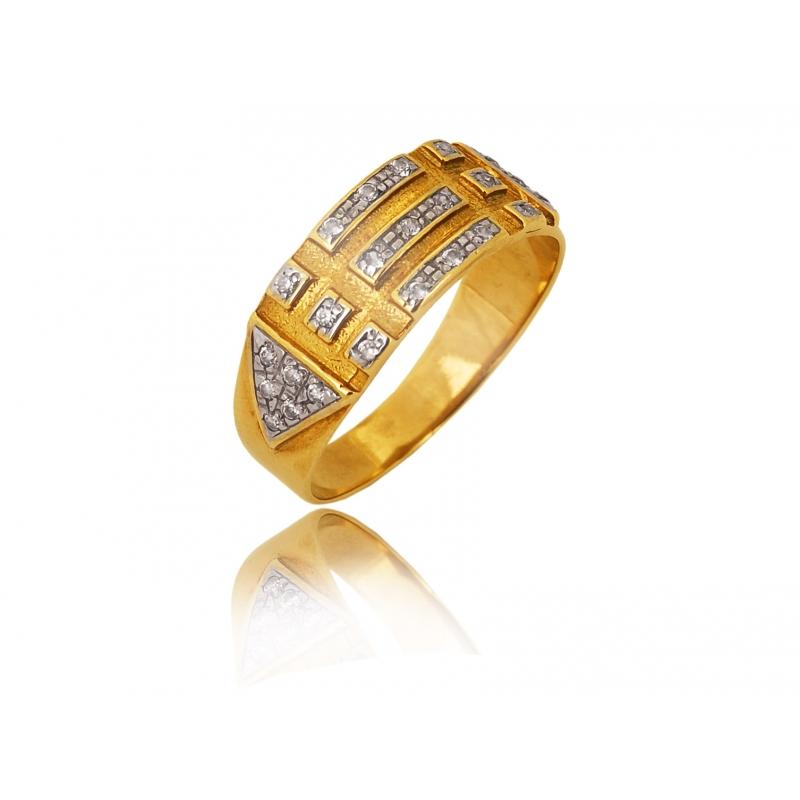 Pierścionek złoty dwukolorowy cyrkonie Swarovski
