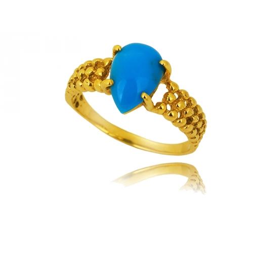 Pierścionek złoty turkus