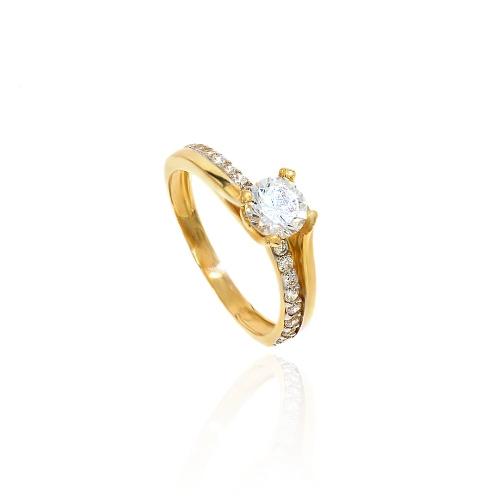 Złoty nowoczesny zaręczynowy pierścionek !