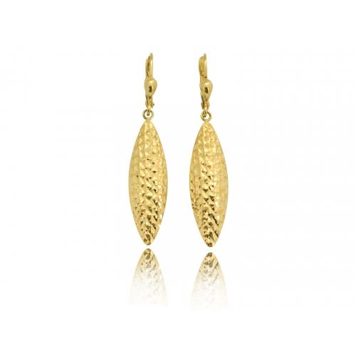 Kolczyki złote wiszące diamentowane łezki