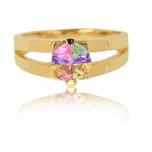 Pierścionek złoty tęczowy kryształ