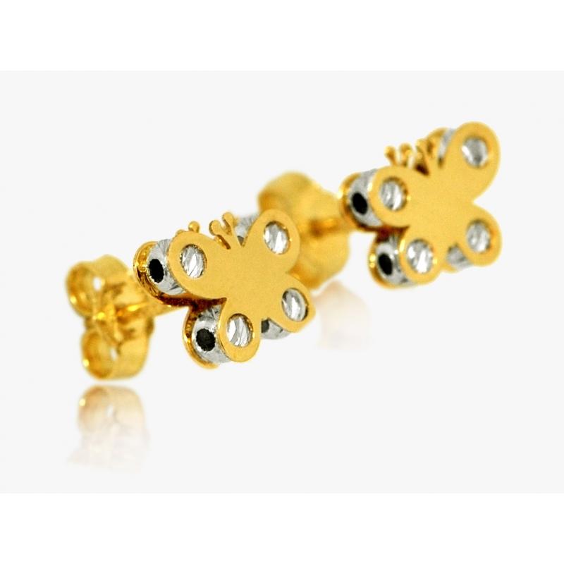 Komplet złoty: zawieszka + kolczyki MOTYL 3D