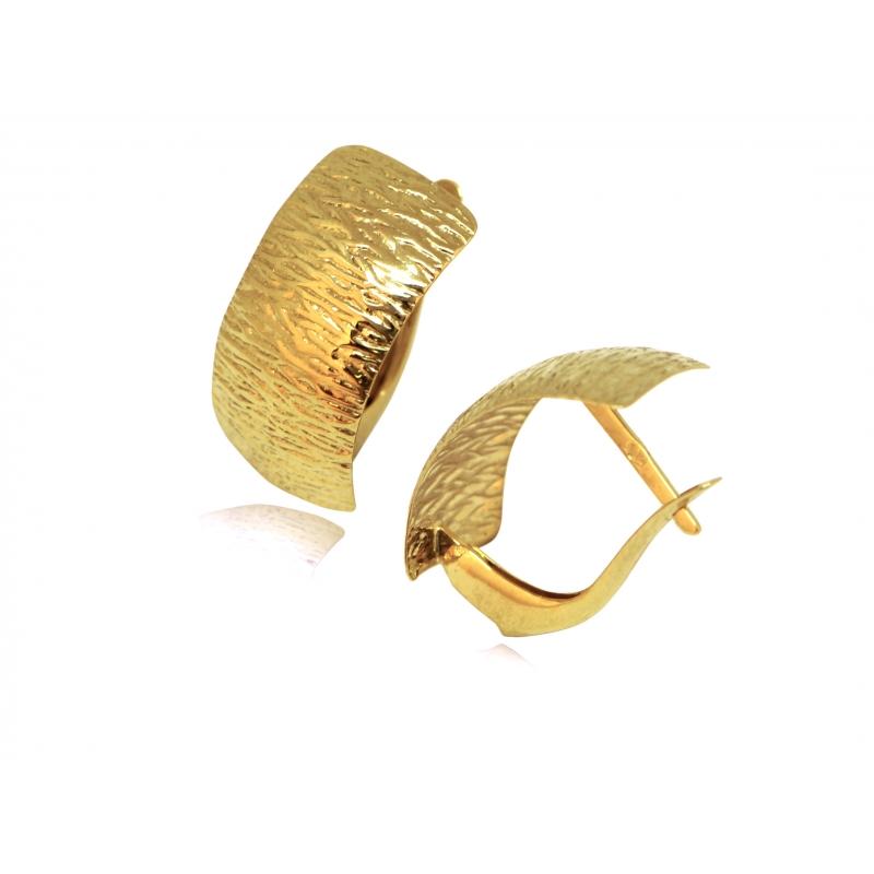 Kolczyki złote karbowane