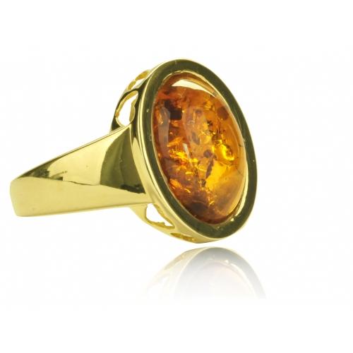Pierścionek złoty z bursztynem