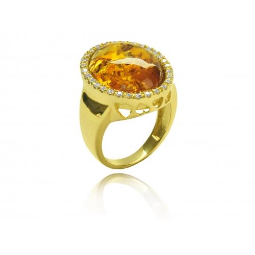 Pierścionek złoty z dużym bursztynem