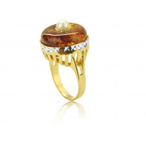 Pierścionek złoty, bursztyn i naturalna perła