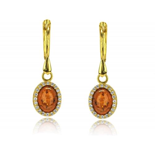 Kolczyki złote z naturalnym bursztynem i kryształkami Svarowskiego