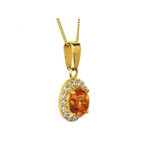 Wisiorek złoty z bursztynem i cyrkoniami Swarovskiego