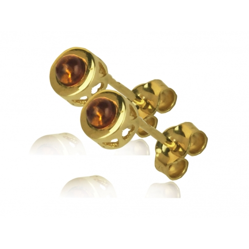 Kolczyki złote z naturalnym bursztynem